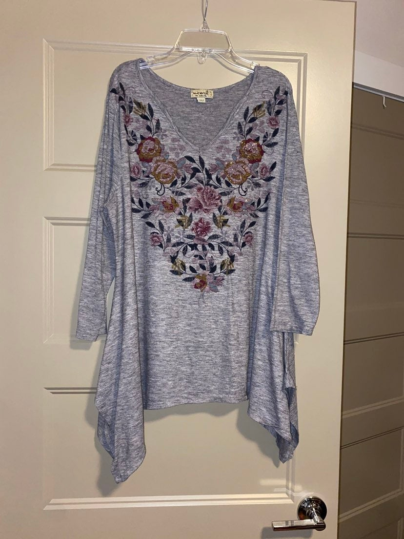 Gray Floral Top
