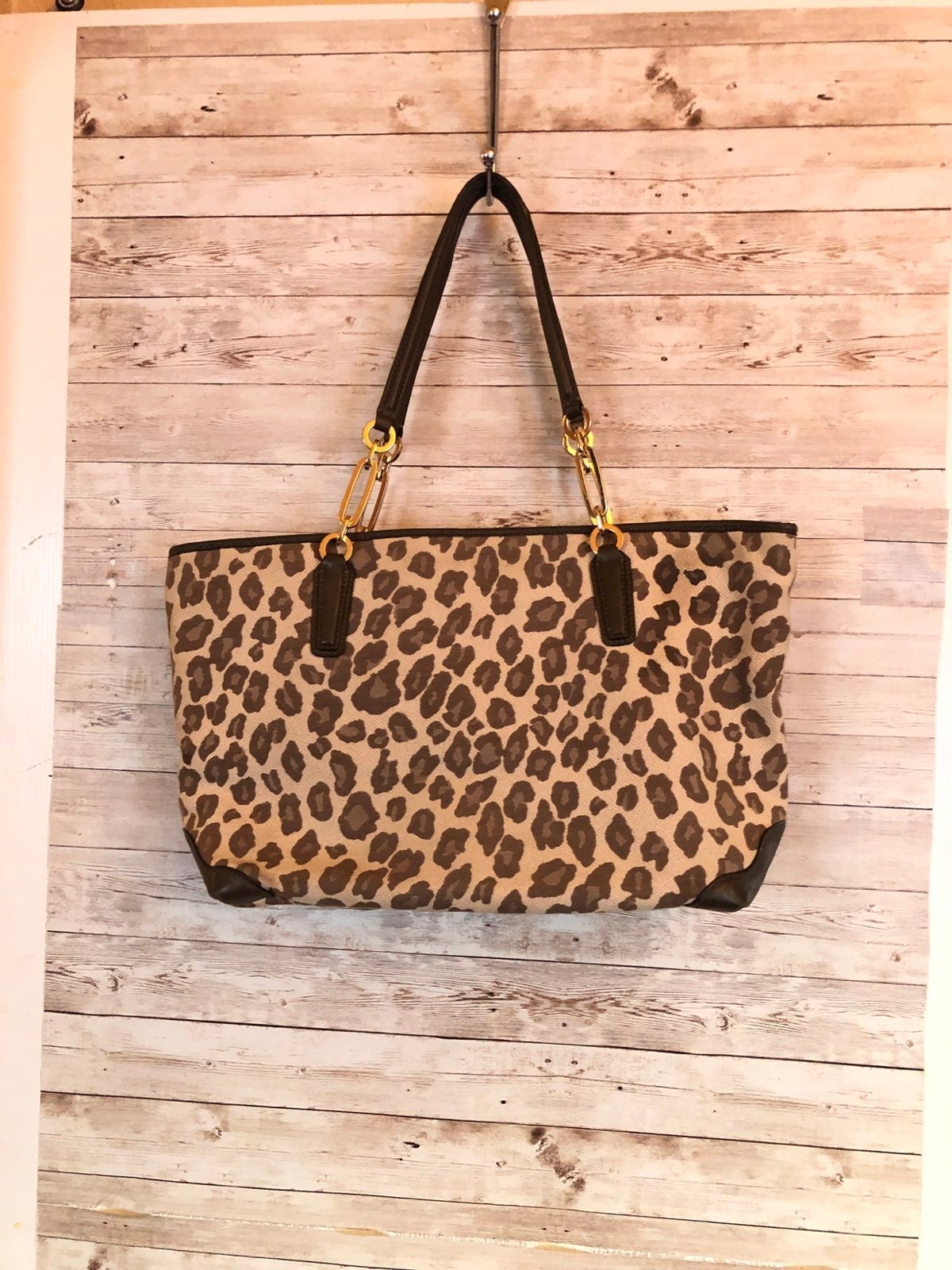 Coach Madison ocelot Jaquard Tote