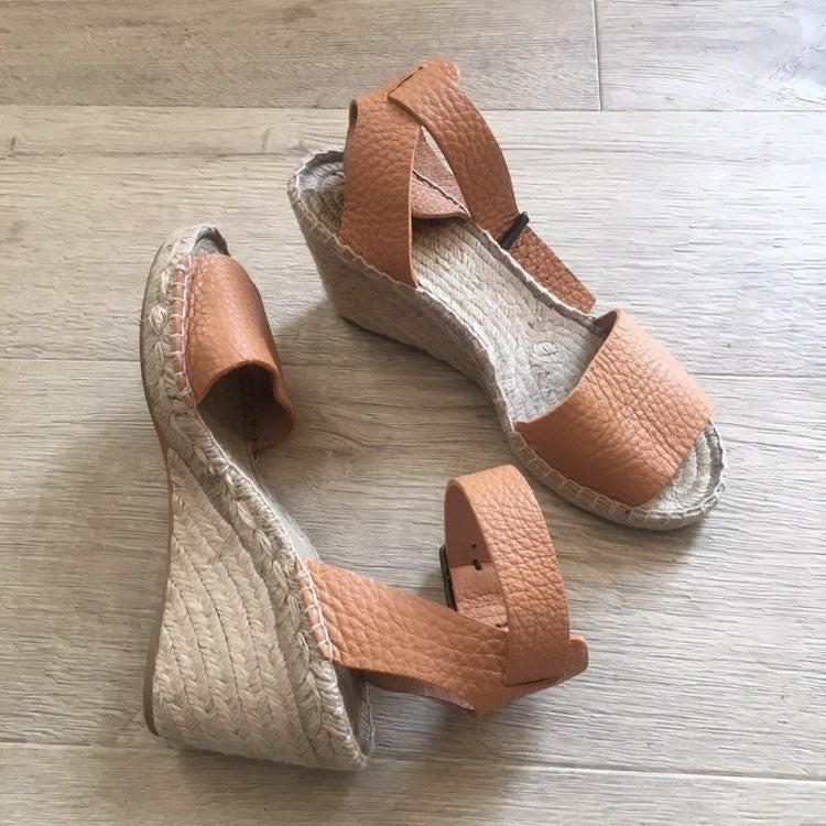 Soft leather ankle strap espadrilles