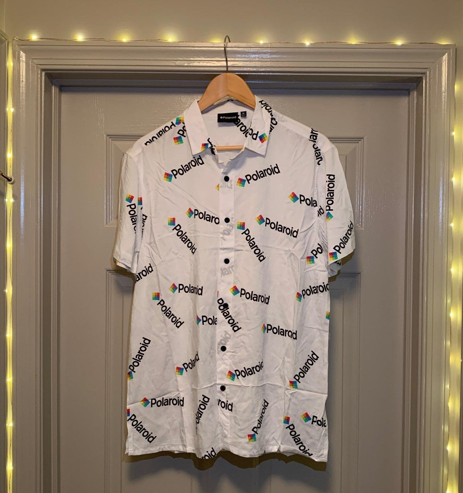 White Polaroid Button Front Shirt