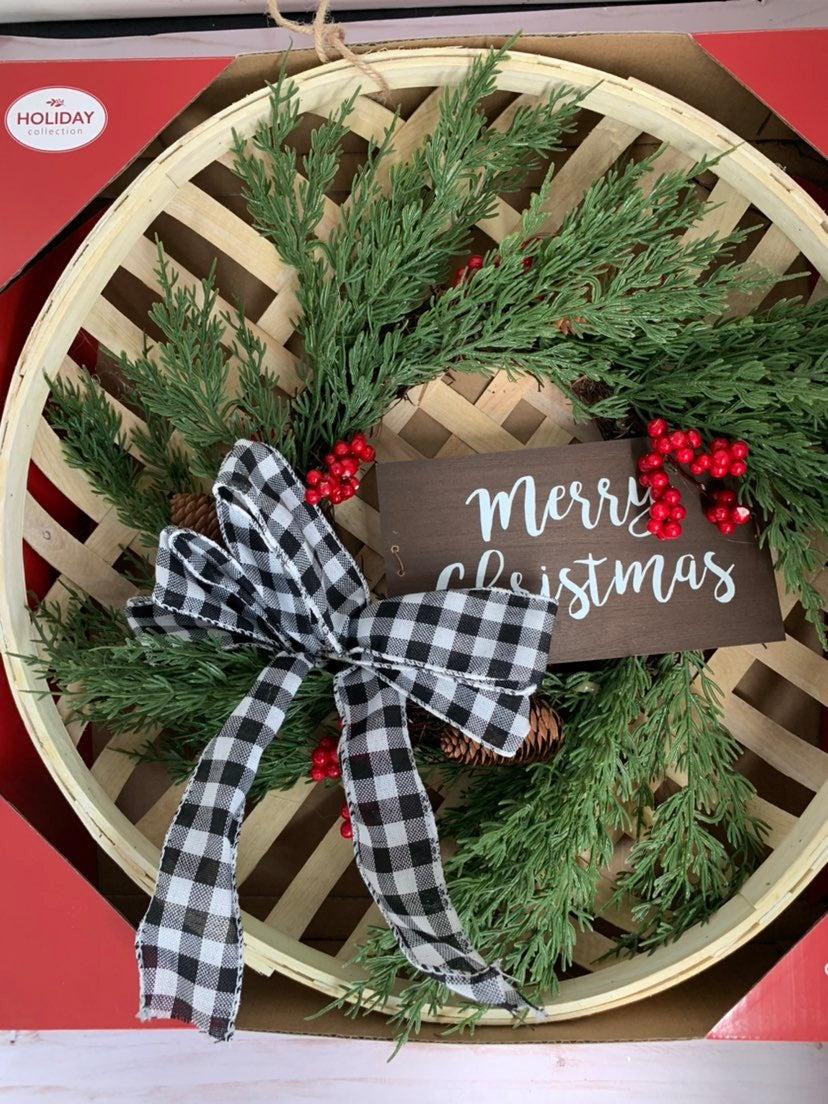 "New Christmas basket wreath 18"""