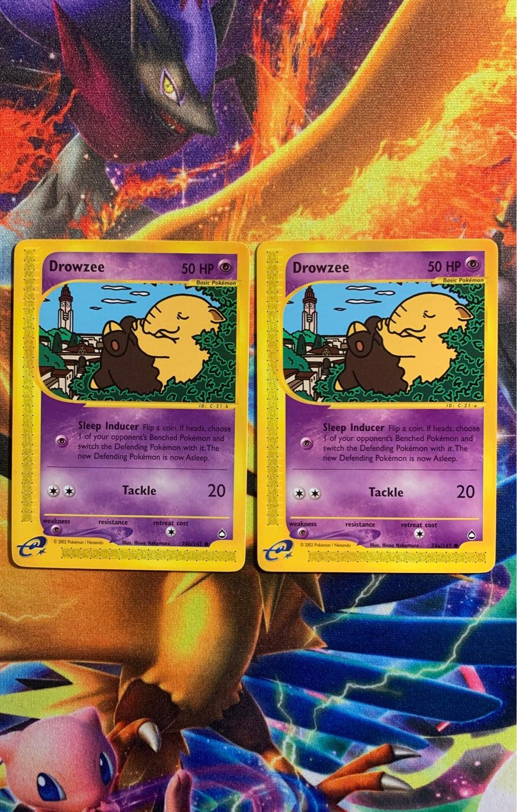 Pokemon Cards Aquapoliz Drowzee 74 a&b