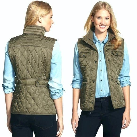 Vince Camuto Quilted Field Jacket Green