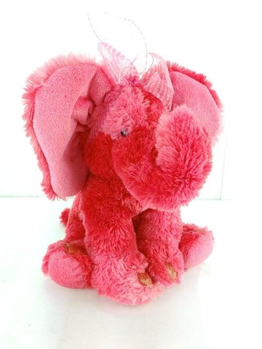 "Russ Emeline Red Elephant Plush 10"" Stuffed Animal Heart Feet Sparkles Love Gift"