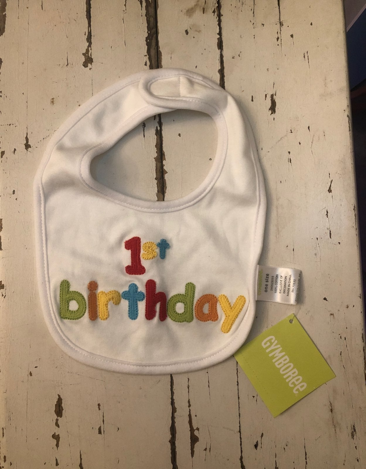 Gymboree 1st First birthday bib - NEW