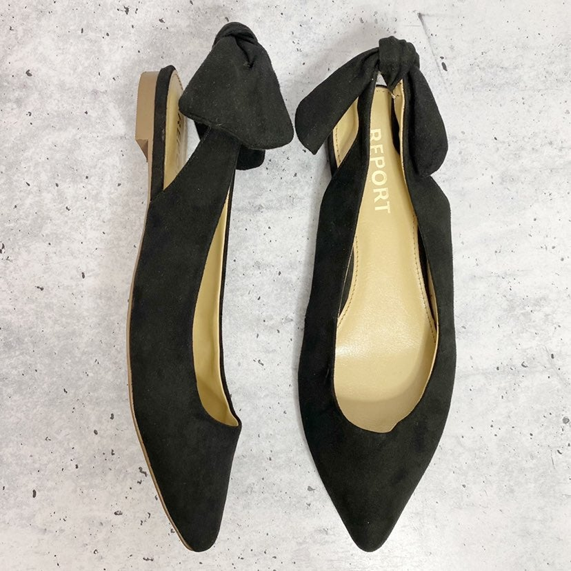 Report black suede look bow back flat 9