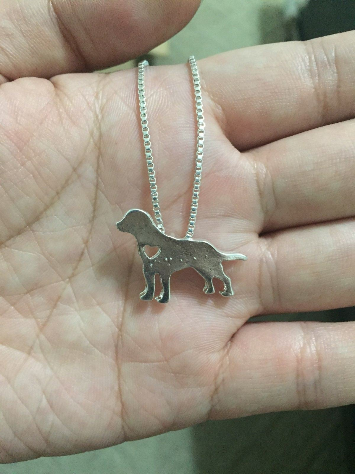 Silver I Love Dog Pet Puppy Necklace
