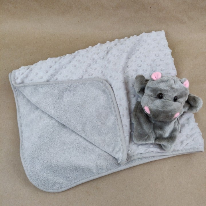 Gray Plush Baby Blanket & Puppet