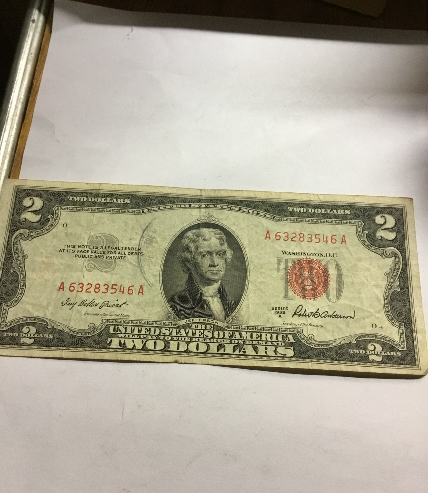 $2.00 bill US Note 1953A red seal