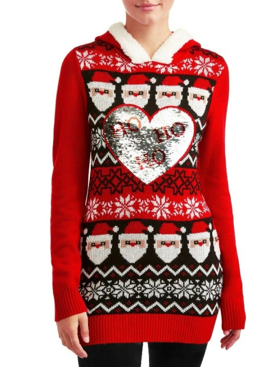Ugly Christmas Sweater Hoodie Sequin XXL