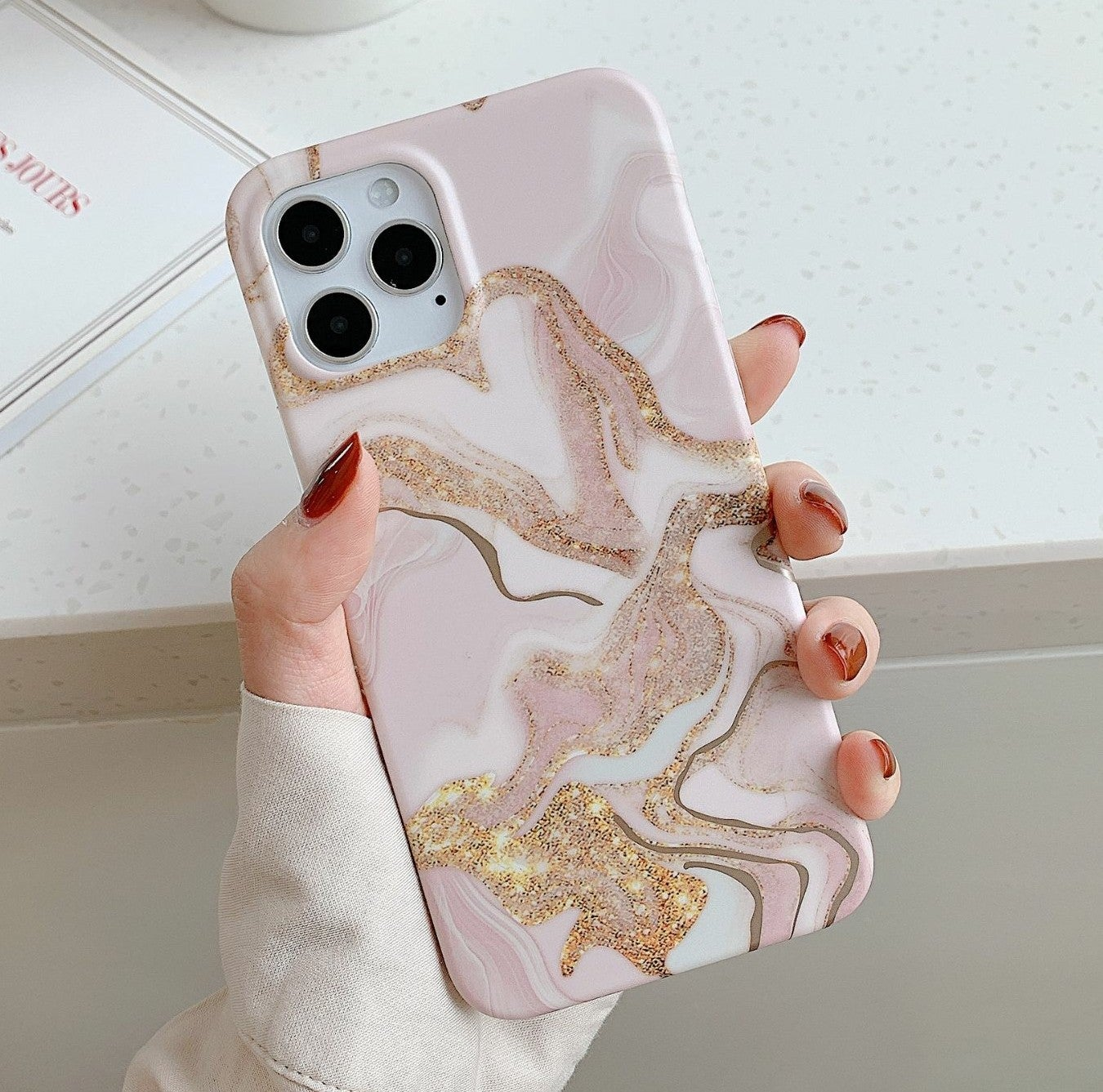 Iphone 12 Pro, 12 case Marble Gold