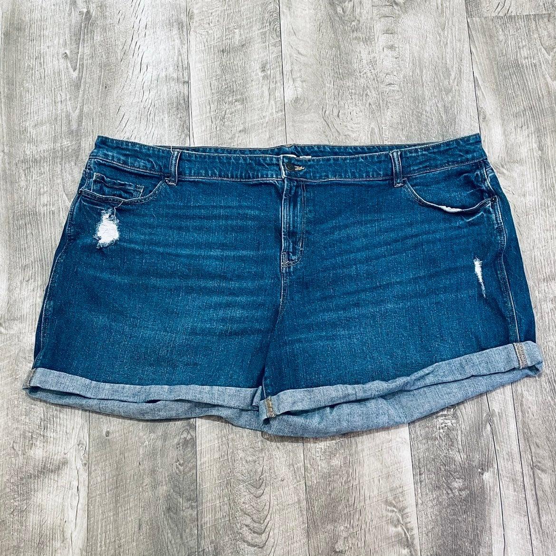 Plus size boyfriend denim shorts 24W