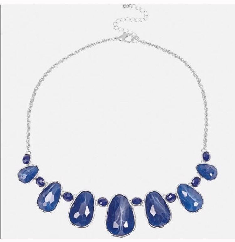 Blue Speckled Statement Necklace