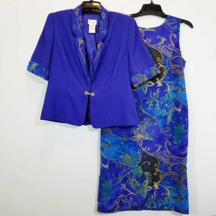 KORET Womens Blue Floral Dress Suit 12