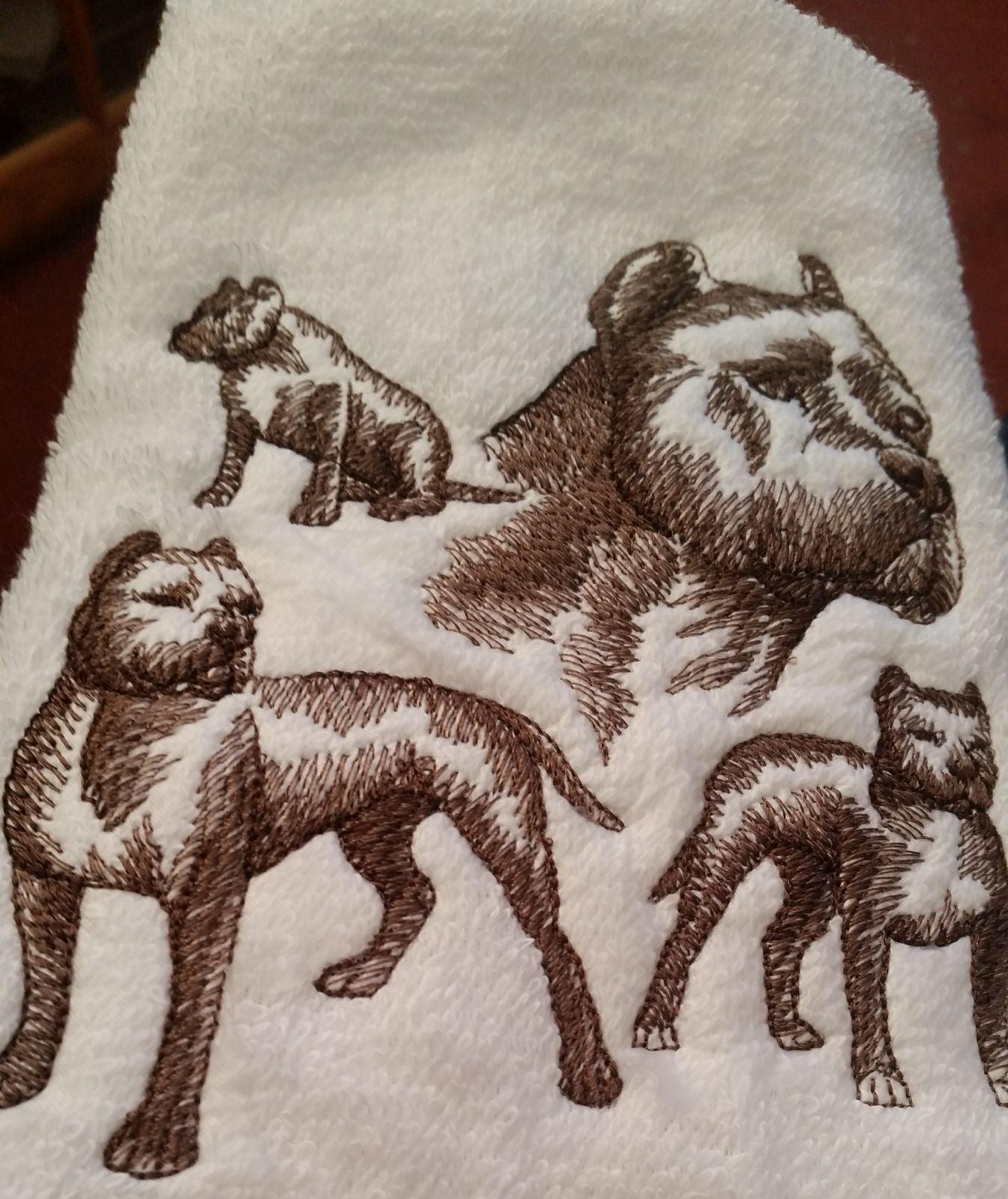 Custom Pitbull Dog hand towel set