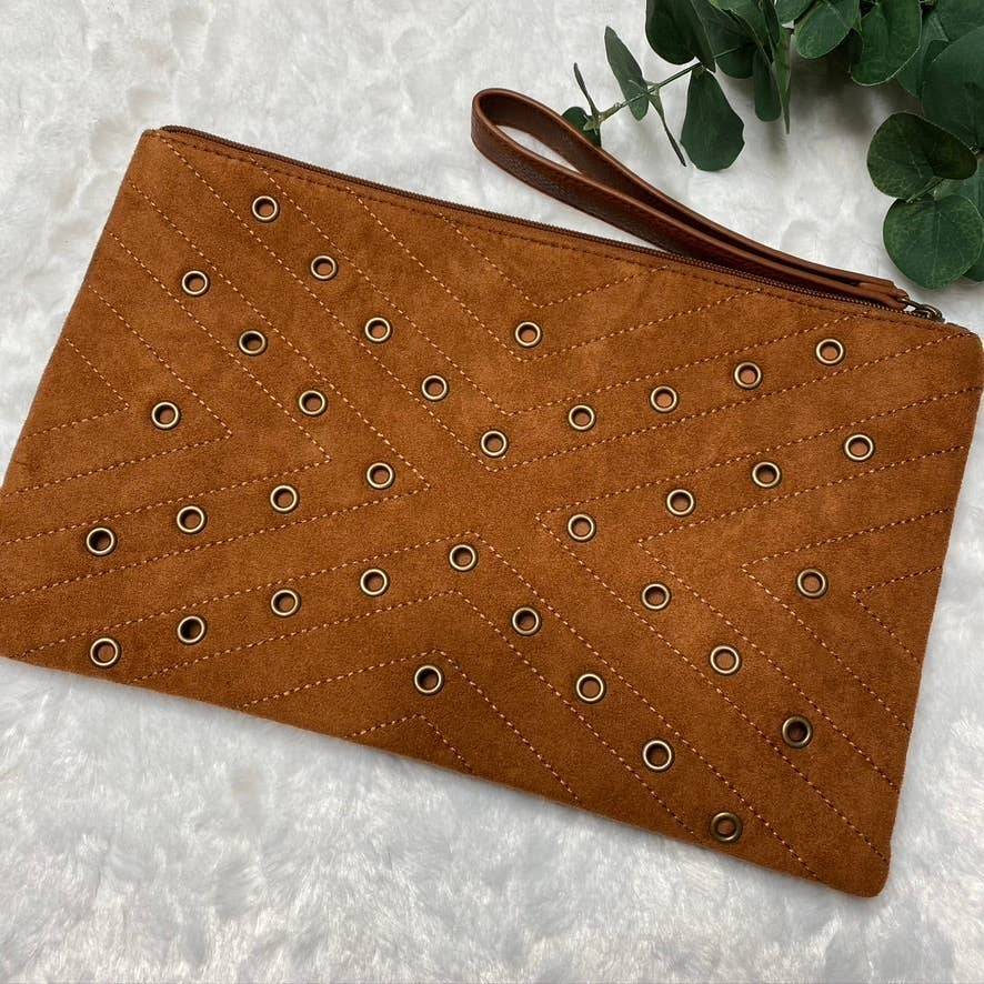 Envy Eyelet Detail Zip Top Wristlet Bag