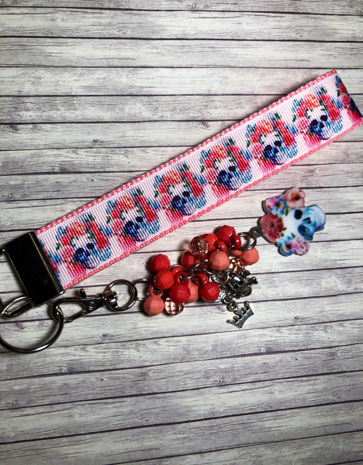 Sugar Skull Key Ring Fob Purse Charm