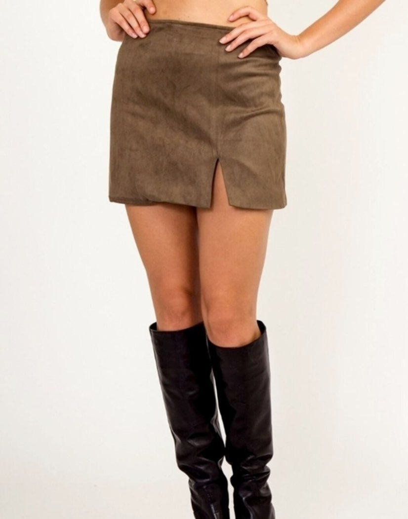 Olive Green Suede Mini Slit Skirt