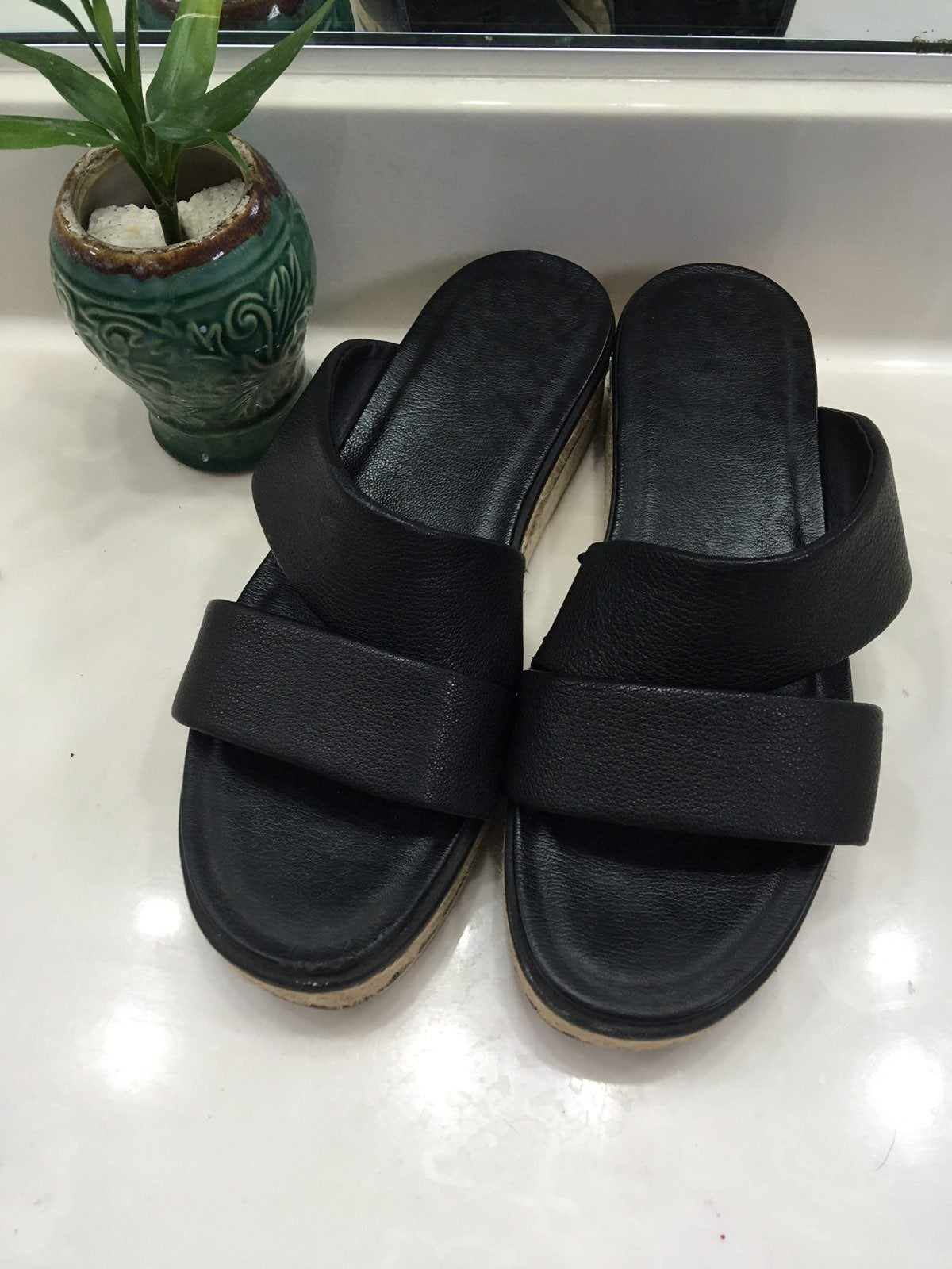 Black Double Strap Espadrille Sandals