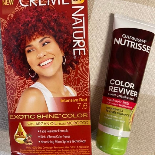 Red permanent hair color and color mask