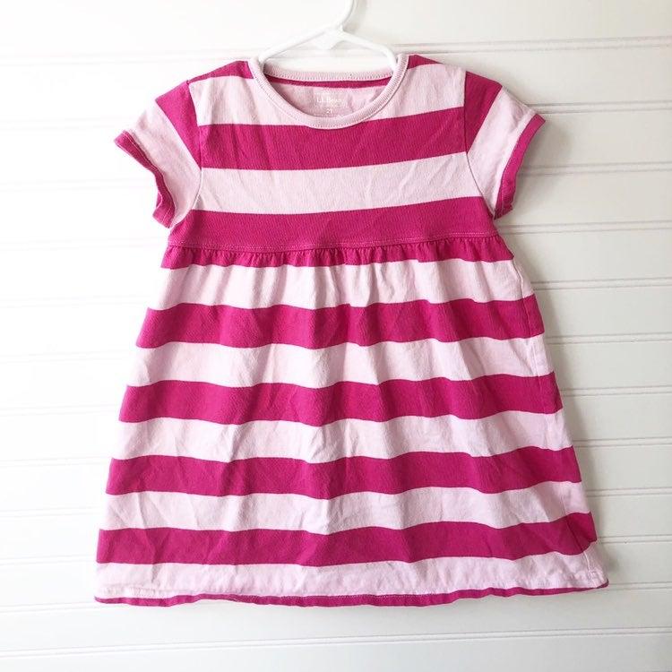 L.L. Bean Pink Striped Cotton Dress