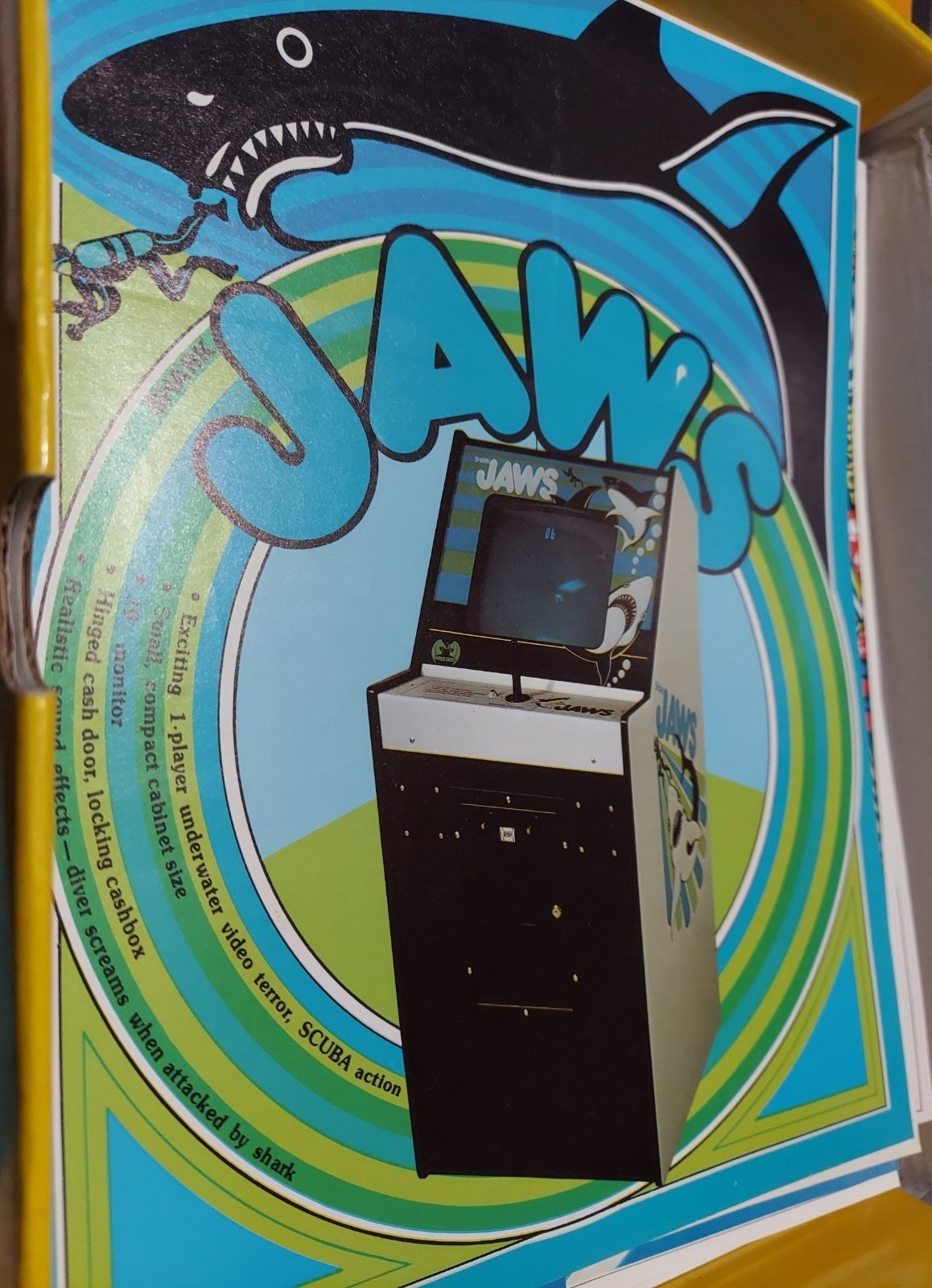 Vintage arcade jaws sales flyer