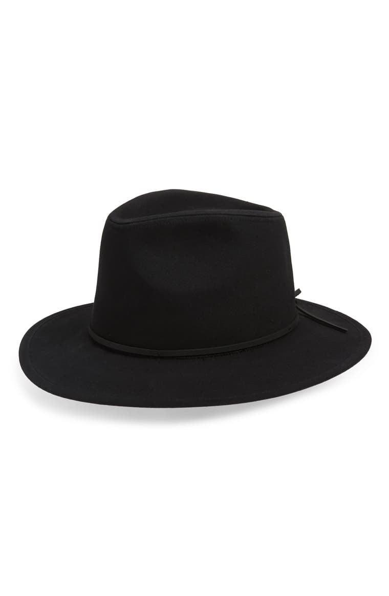 Brixton Wesley Cotton Fedora Hat Leather