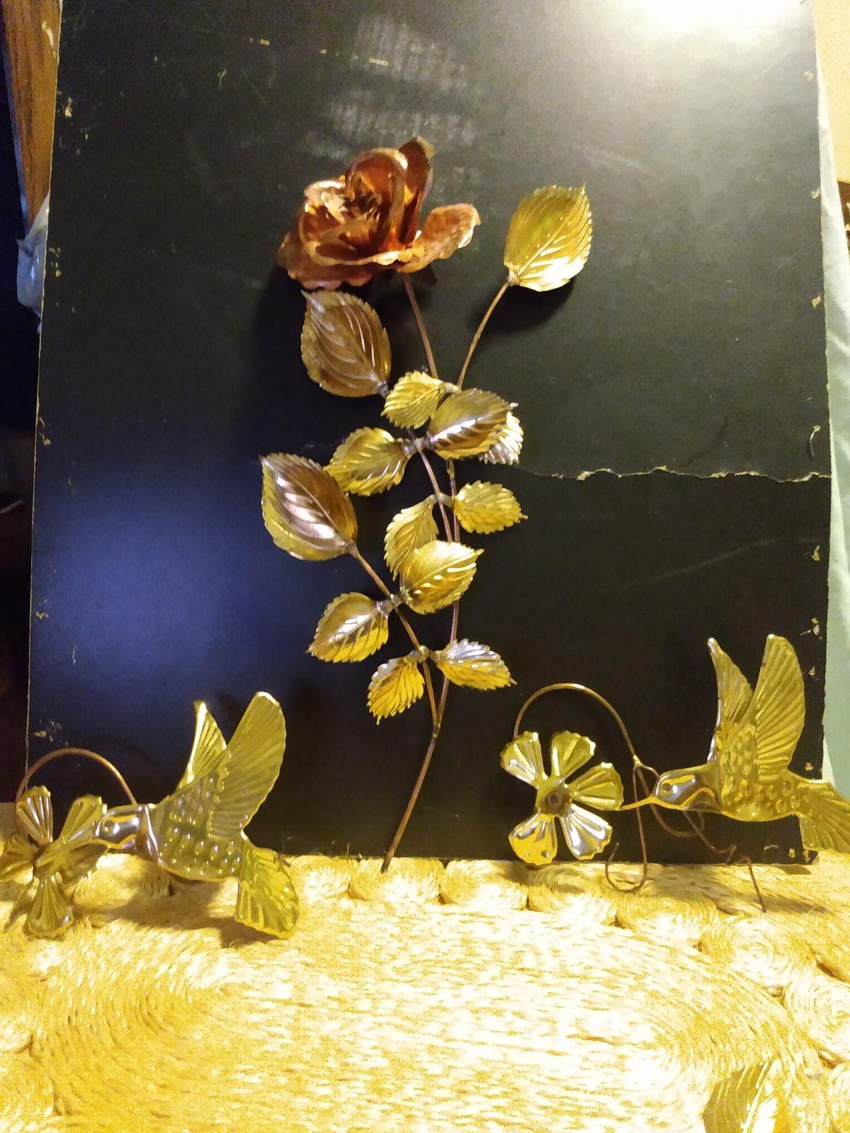 Brass Rose and hummingbird set