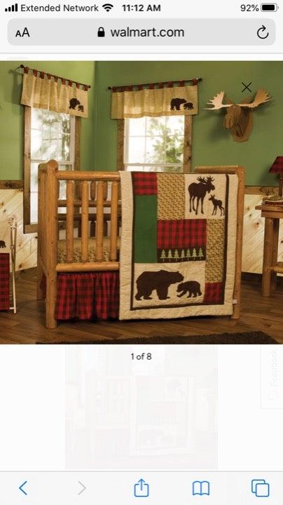 Trend lab bear/ buffalo plaid crib set