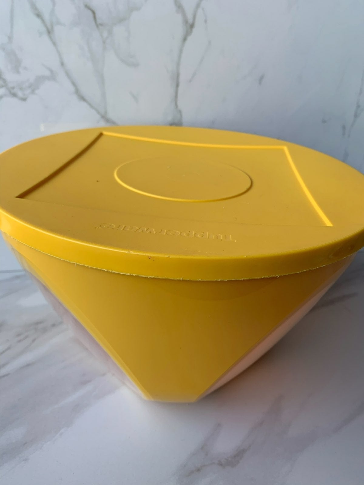 Yellow large bowl with see through clear