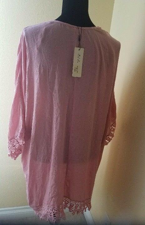 Dusty Pink Lace Design Kimono Duster 2XL