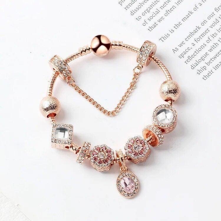 Charm Bracelet size 20cm, Rose gold