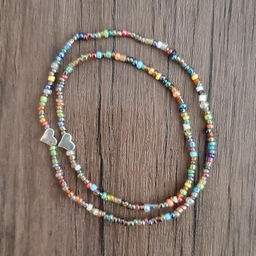 Steel hearts bracelet anklet set