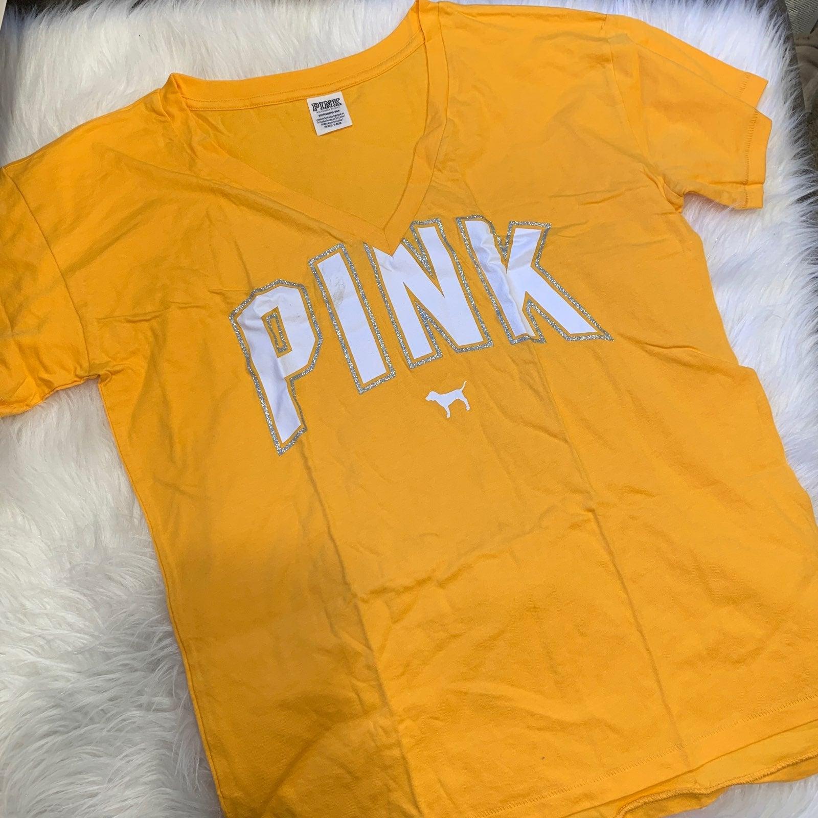 VS Pink V Neck Campus Tee Shirt S