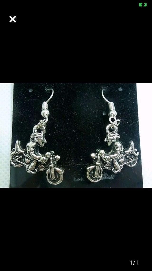 Silver Motorcycle earrings