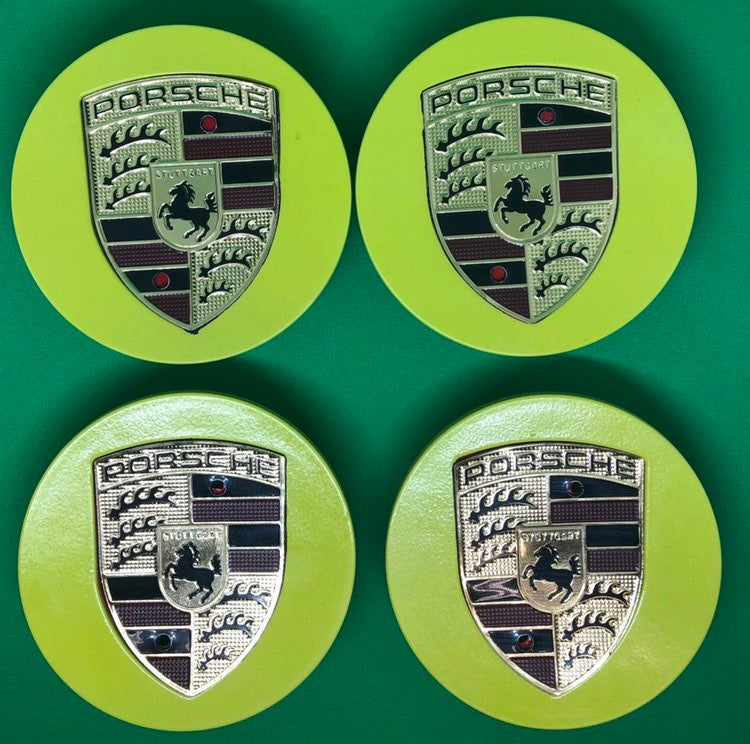 4 center cap yelow Porsche 76 mm new