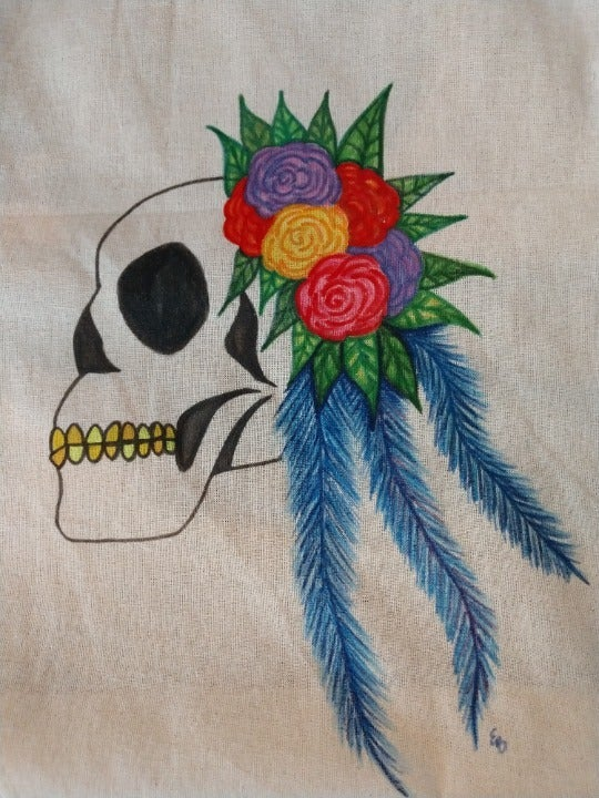 Skull and Flowers Market Bag Floral Tote