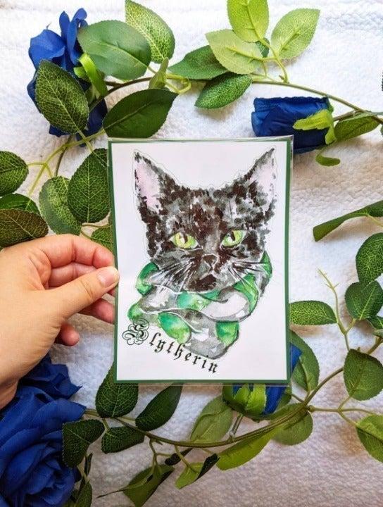 Slytherin Harry Potter Cat Art Print