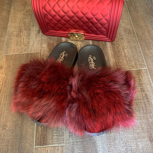 furry slides and matching purse set