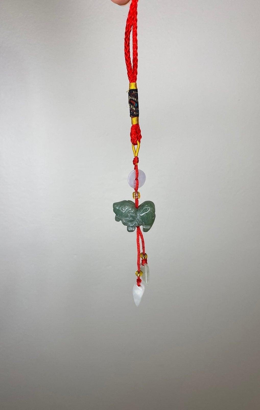 Chinese zodiac Jade Ram lucky keychain