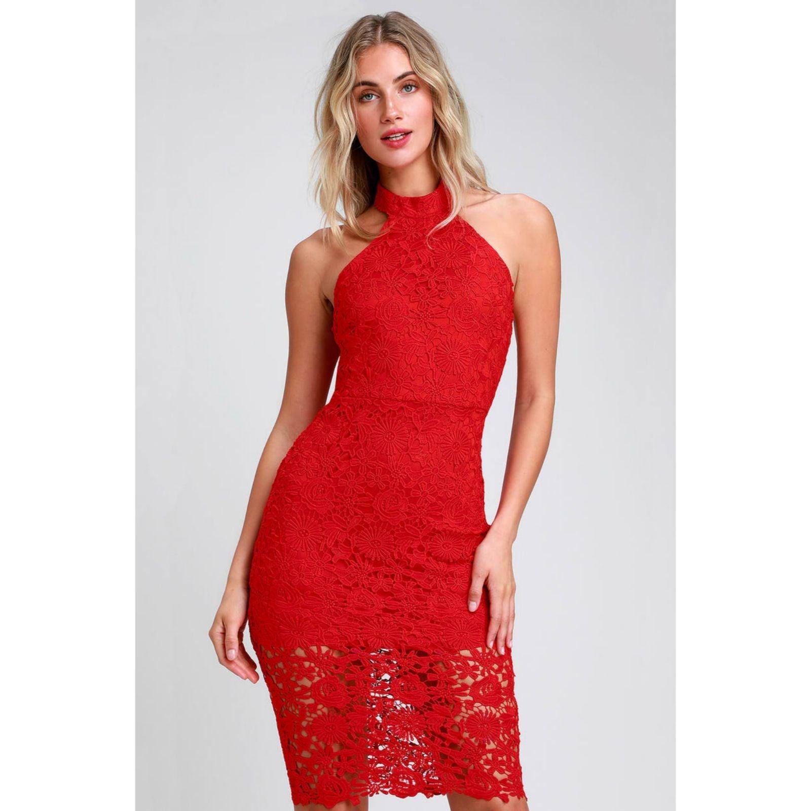 NEW |Lulu's |Red Lace / Crochet Halter M