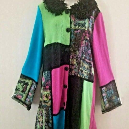 BEREK Patchwork Boho Sweater Coat 1X