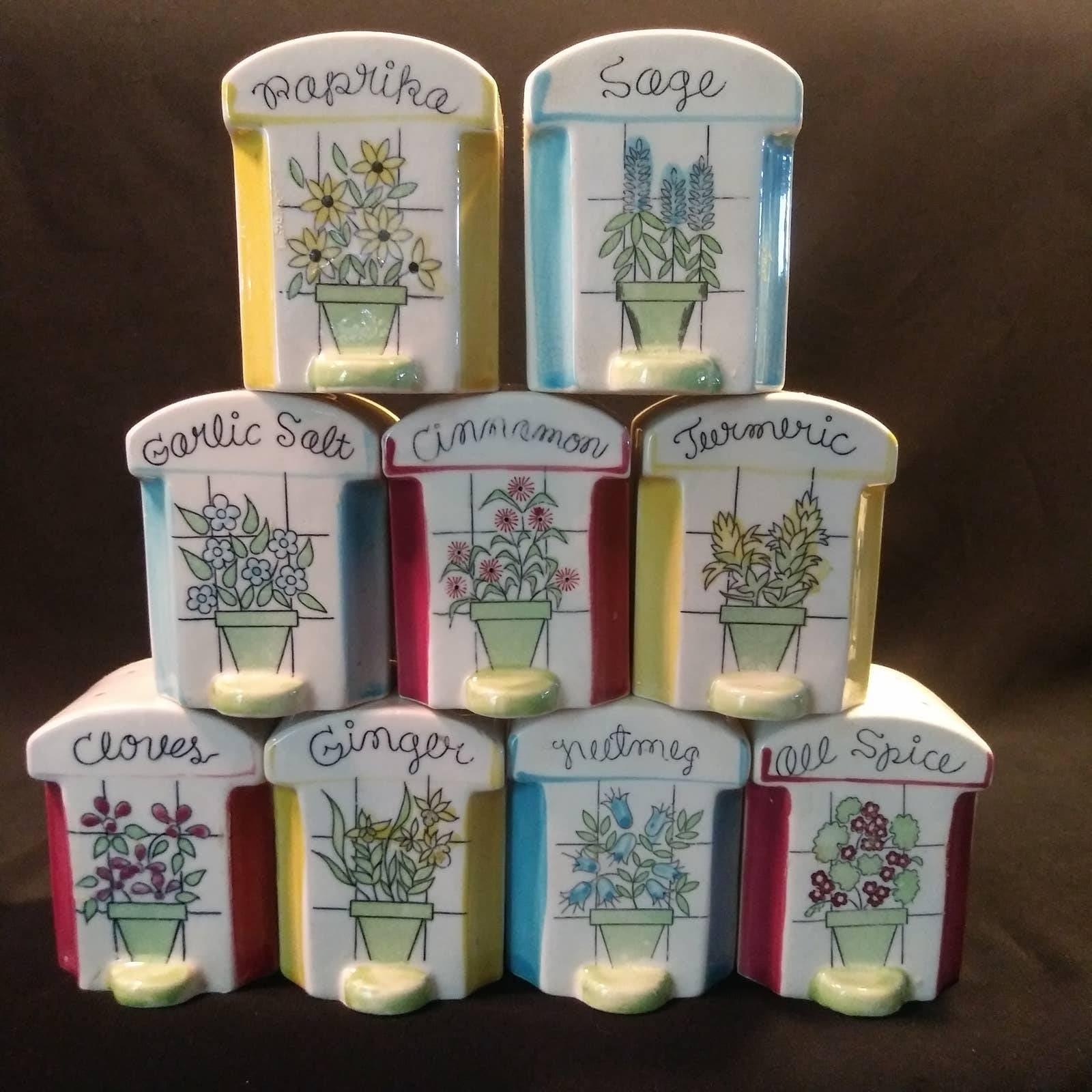 9 -1950s Ceramic Spice Shakers Japan