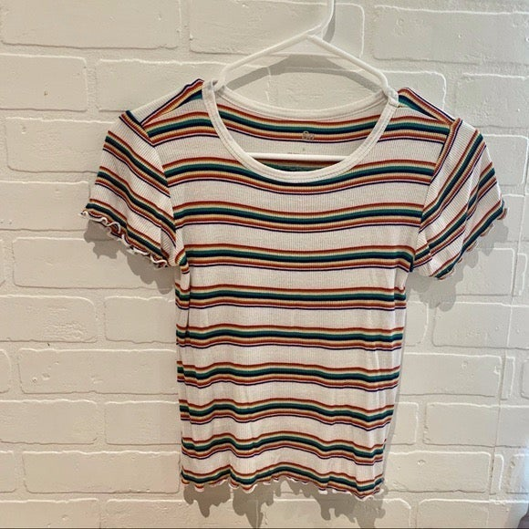 SO Girls White Top with Rainbow Stripes