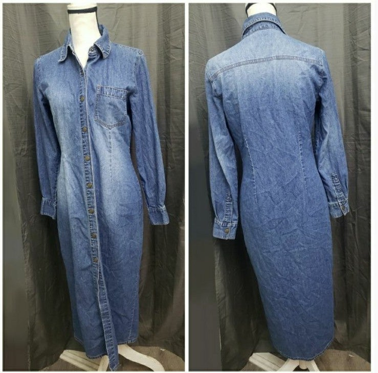 VINTAGE | Button Up Denim Midi Dress!