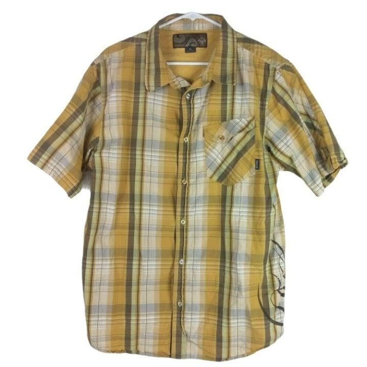 Prana Mens Short Sleeve Plaid Shirt