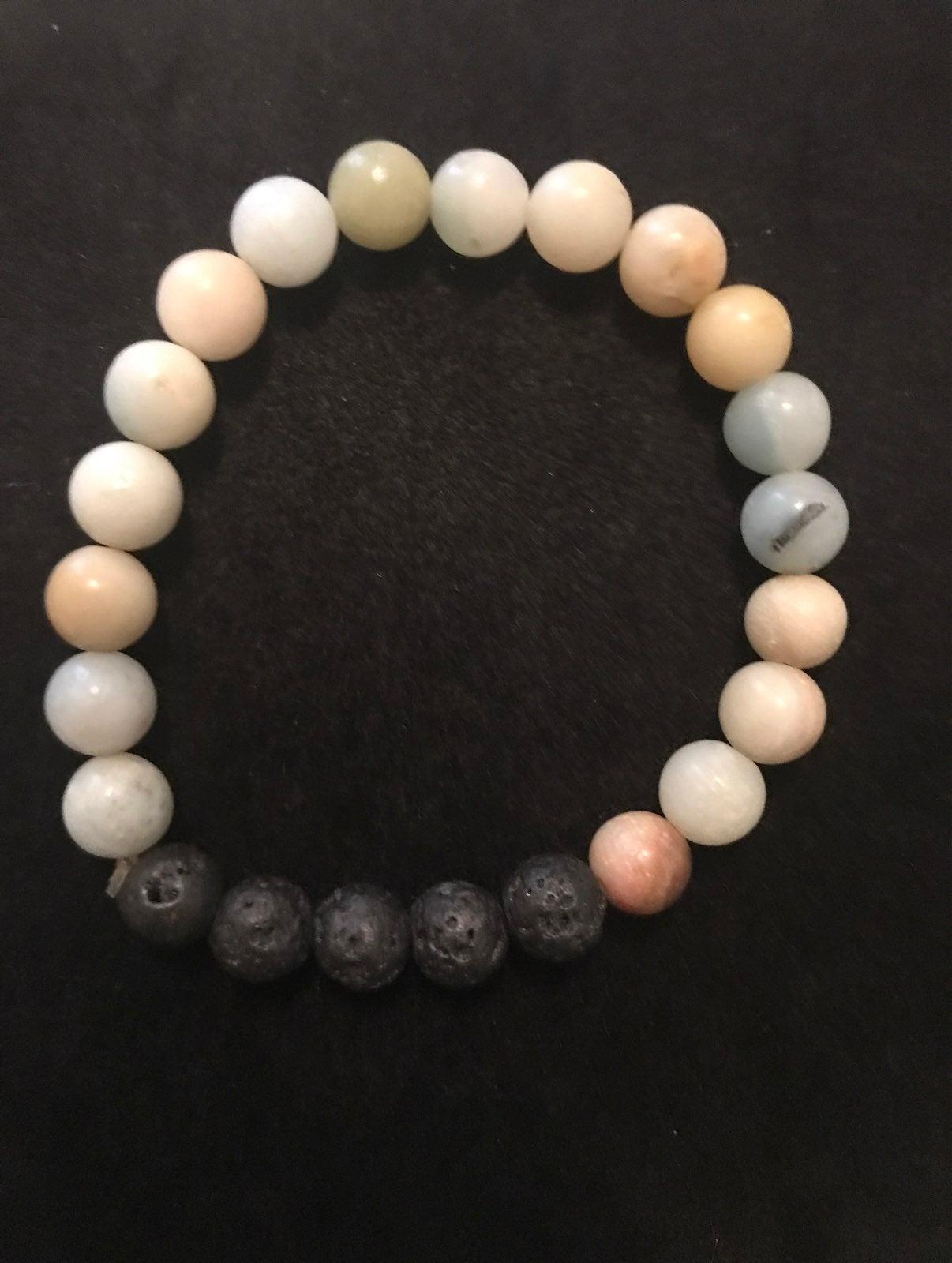 Amazonite And lava rock bracelet