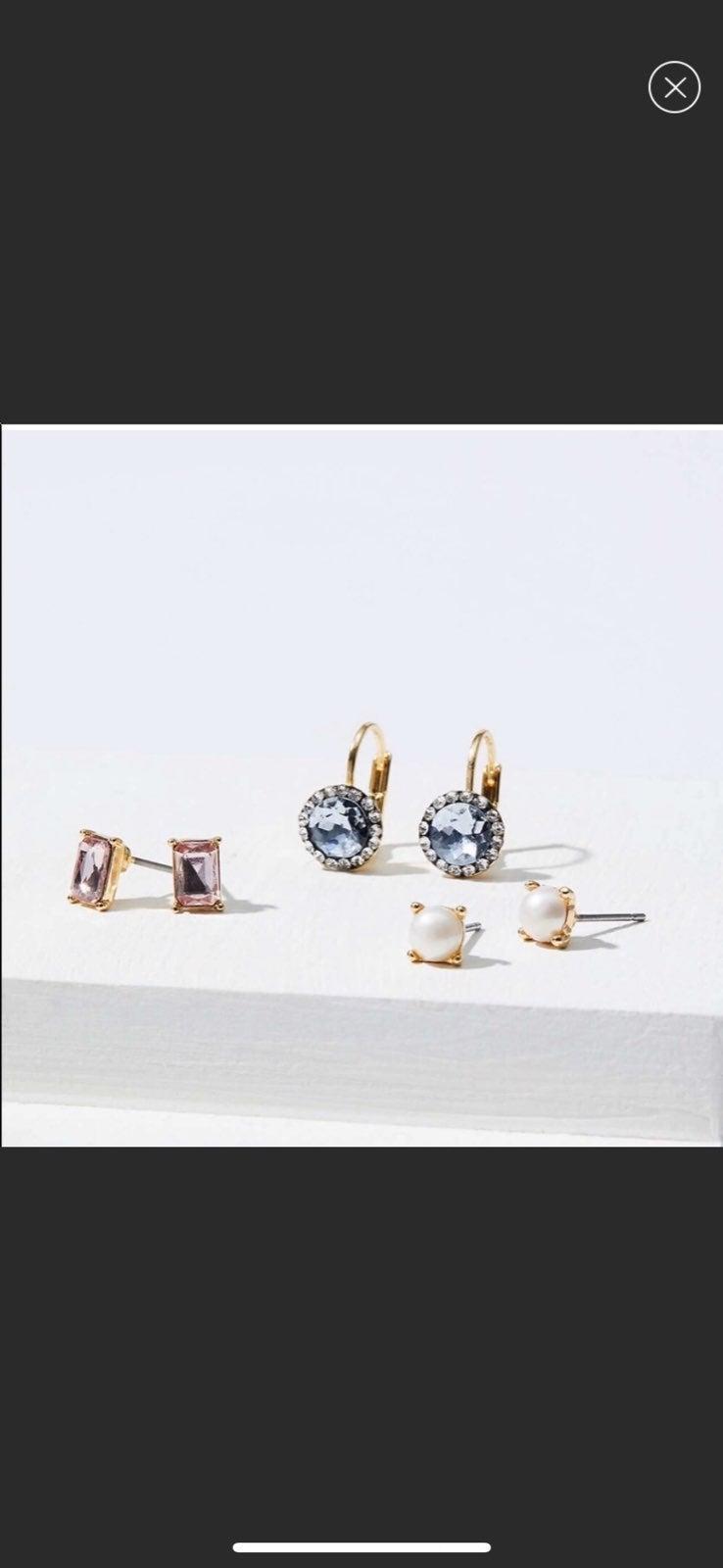 NWT LOFT Pearlized Crystal Earring Trio