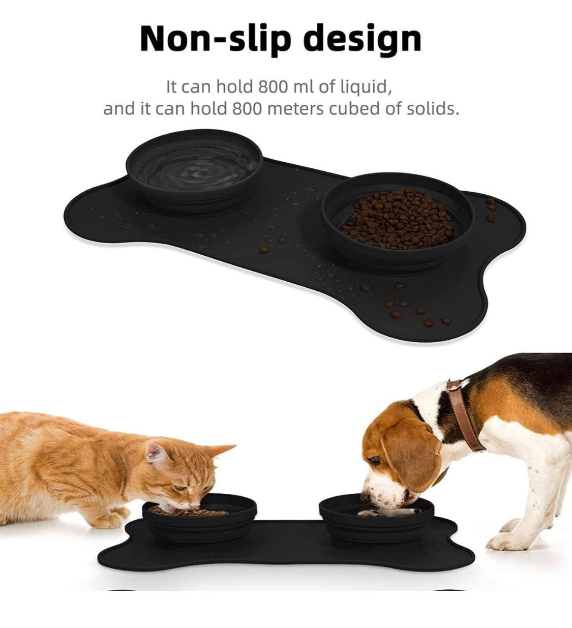 Double dog/cat bowls with mat