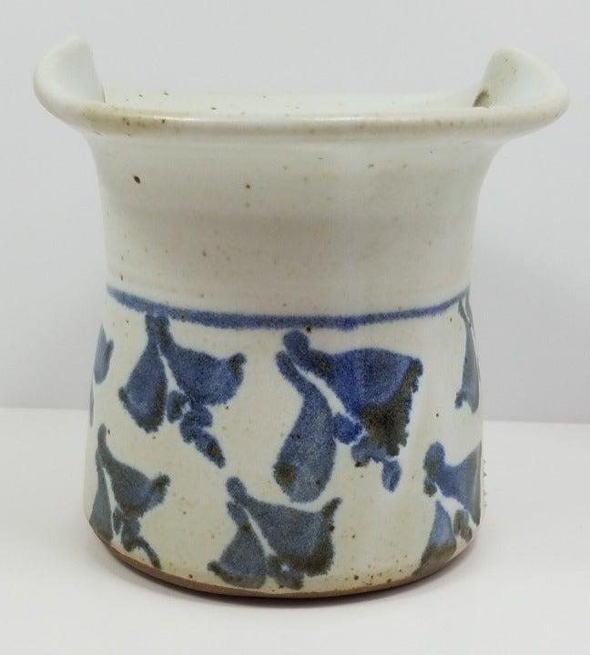 Stoneware Plantholder Blue Columbines CO
